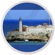 Havana Harbor Lighthouse Round Beach Towel
