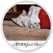 Have A Purrfect Christmas Round Beach Towel