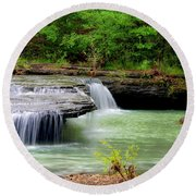 Haw Creek Falls Round Beach Towel