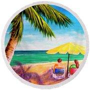 Hawaii Beach Yellow Umbrella #470 Round Beach Towel