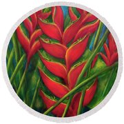 Hawaii Heliconia Flowers #445 Round Beach Towel