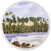 Hawaii Postcard Round Beach Towel