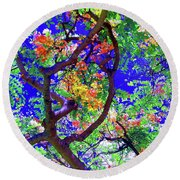 Hawaii Shower Tree Flowers In Abstract Round Beach Towel