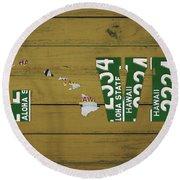 Hawaii State Love License Plate Art Phrase Round Beach Towel