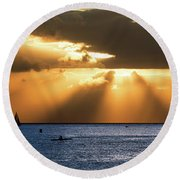 Hawaii Sunset Panorama Round Beach Towel