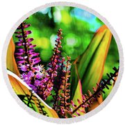 Hawaii Ti Leaf Plant And Flowers Round Beach Towel