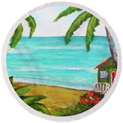 Hawaii Tropical Beach Art Prints Painting #418 Round Beach Towel