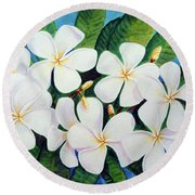 Hawaii Tropical Plumeria Flower  # 220 Round Beach Towel