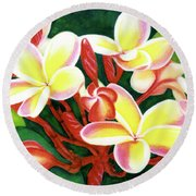 Hawaii Tropical Plumeria Flower #205 Round Beach Towel