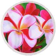 Hawaii Tropical Plumeria Flower #212 Round Beach Towel