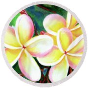 Hawaii Tropical Plumeria Flower #213 Round Beach Towel