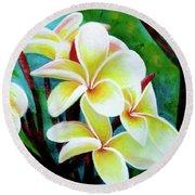 Hawaii Tropical Plumeria Flower #225 Round Beach Towel