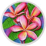 Hawaii Tropical Plumeria Flower #243 Round Beach Towel