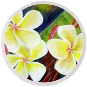 Hawaii Tropical Plumeria Flower #298, Round Beach Towel