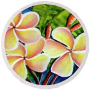 Hawaii Tropical Plumeria  Flower #314 Round Beach Towel