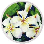 Hawaii Tropical Plumeria Flowers #160 Round Beach Towel