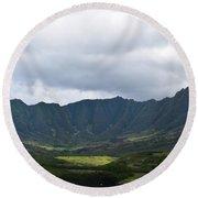 Hawaii Valleys Round Beach Towel