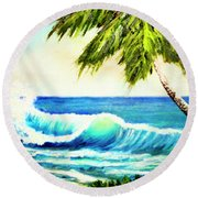 Hawaiian Beach Wave #420 Round Beach Towel