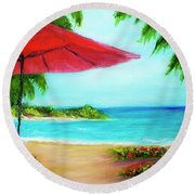 Hawaiian Beach Wave Art Print Painting #441 Round Beach Towel