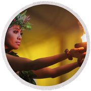 Hawaiian Dancer And Firepots Round Beach Towel