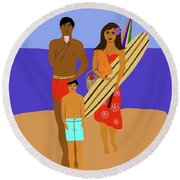 Hawaiian Family Beach Scene Round Beach Towel