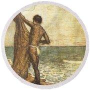 Hawaiian Fisherman Painting Round Beach Towel