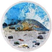 Hawaiian Green Turtle Honu Round Beach Towel