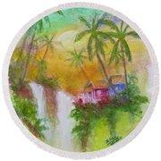 Hawaiian Homestead In The Valley #460 Round Beach Towel