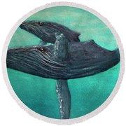 Hawaiian Humpback Whales #455 Round Beach Towel