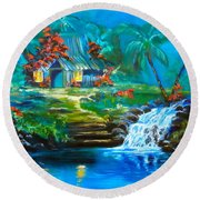 Hawaiian Hut And Waterfalls Round Beach Towel