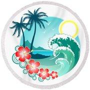 Hawaiian Island 2 Round Beach Towel