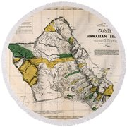Hawaiian  Islands Map 1881 Round Beach Towel