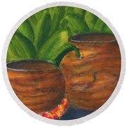 Hawaiian Koa Wooden Bowls #426 Round Beach Towel