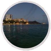 Hawaiian Lights - Waikiki Beach And Diamond Head Volcano Crater Round Beach Towel