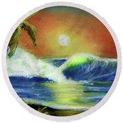 Hawaiian Moon #399 Round Beach Towel