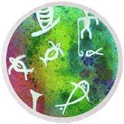 Hawaiian Petroglyph Prints #219 Round Beach Towel