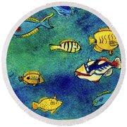 Hawaiian Reef  Fish #223 Round Beach Towel