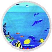 Hawaiian Reef Fish Nimo #193 Round Beach Towel