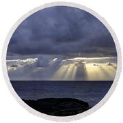 Hawaiian Sunrise Round Beach Towel by Mike Herdering
