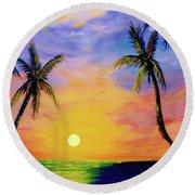Hawaiian Sunset #36 Round Beach Towel