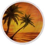 Hawaiian Sunset #380 Round Beach Towel