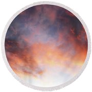 Hawaiian Sunset Clouds Round Beach Towel