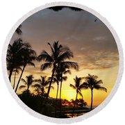 Hawaiian Sunset Design Round Beach Towel