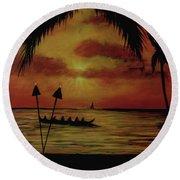 Hawaiian Sunset Paddlers #283 Round Beach Towel