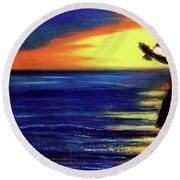 Hawaiian Sunset With Hula Dance  #183, Round Beach Towel