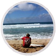 Hawaiian Surfer Round Beach Towel