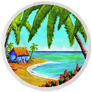 Hawaiian Tropical Beach  #364 Round Beach Towel