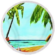 Hawaiian Tropical Beach #367  Round Beach Towel