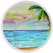Hawaiian Tropical Beach #408 Round Beach Towel