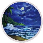 Hawaiian Tropical Ocean Moonscape Seascape #377 Round Beach Towel